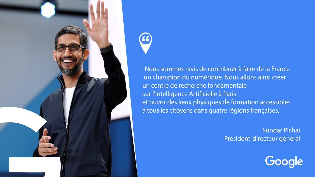 Faire de la France un #DigitalChampion : l'ambition commune d'@EmmanuelMacron et @SundarPichai 🇫🇷 #ChooseFrance
