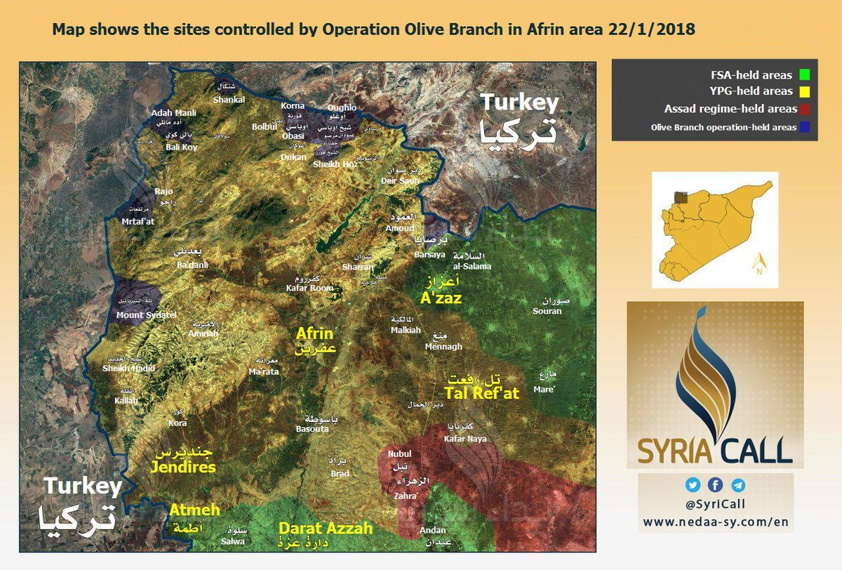 Map shows the sites controlled by Operation Olive Branch in Afrin