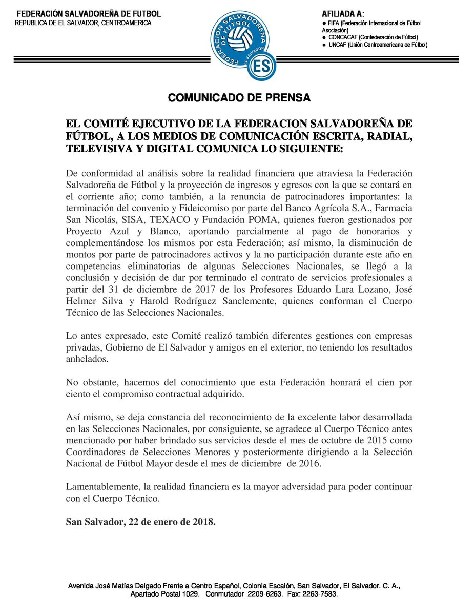 Eduardo Lara no es mas el tecnico de La Seleccion Nacional y termina contrato con FESFUT. DUL5NhtW4AAlxRn