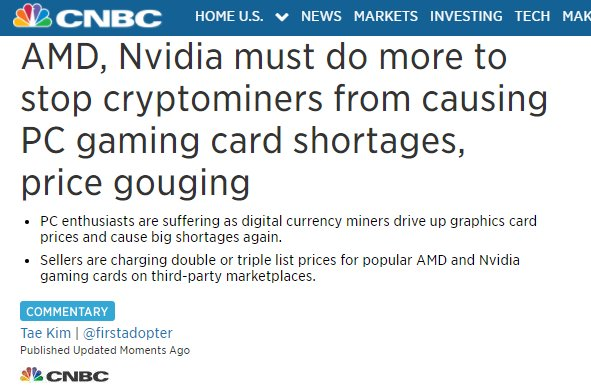 My latest column up -> 'AMD, Nvidia must do more to stop cryptominers from causing PC gaming card shortages, price gouging' $AMD $NVDA https://t.co/FliNanV6nn
