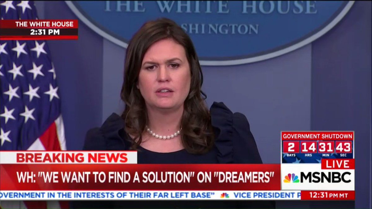 This didn't get much attention but was maybe the most important thing I heard today.  The White House says it might start deporting DREAMers on March 5  https://t.co/KyuurCPonq