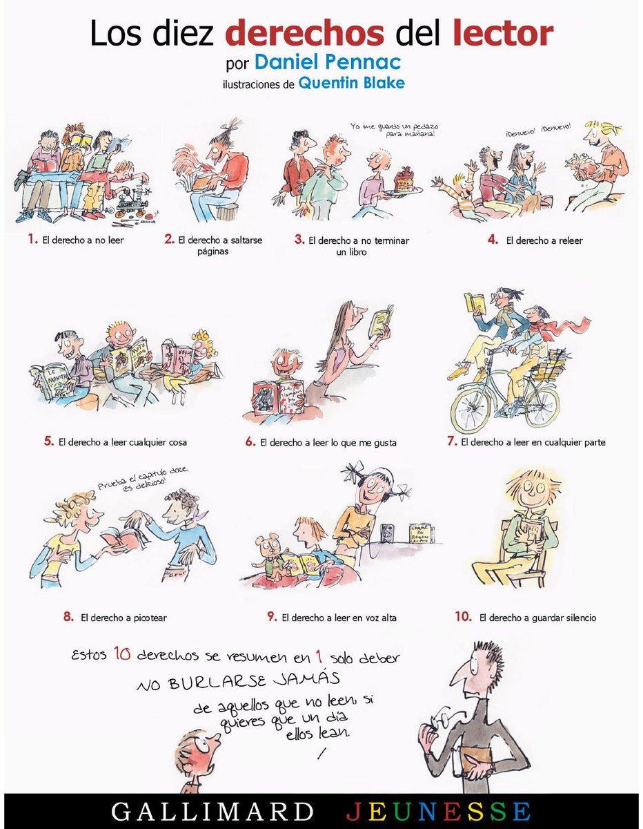 'Los diez derechos del lector' Daniel Pennac #derechos #queleer https://t.co/ScAqLZH5VF https://t.co/fid115VgBq