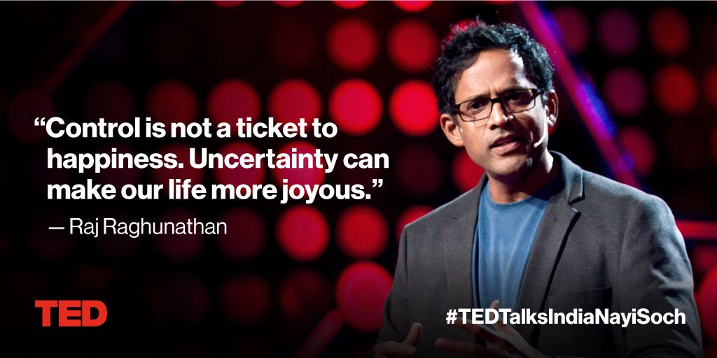 Want to be happier? Let go of control. https://t.co/ZmoeOU203d #TEDTalksIndiaNayiSoch