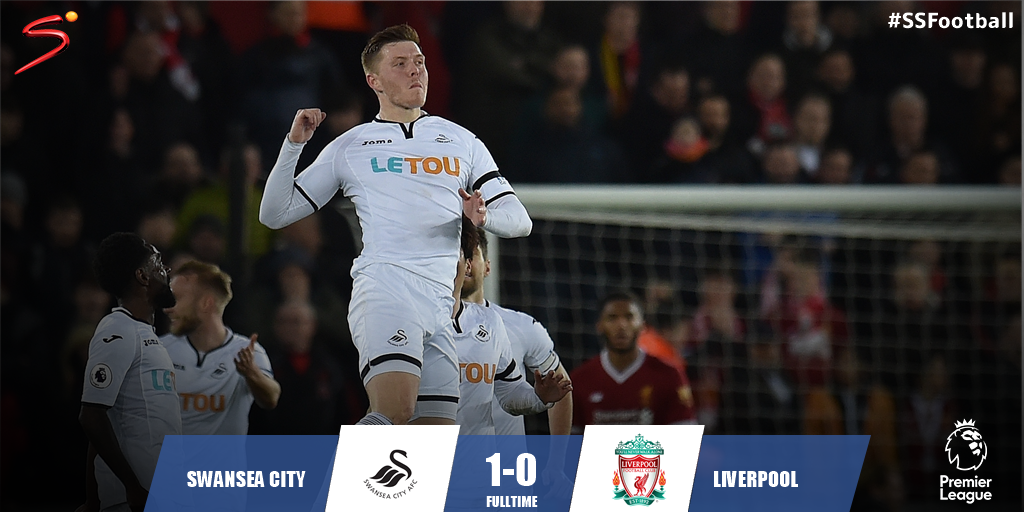 Alfie Mawson's first-half strike earned bottom of the table Swansea a hugely important win over Liverpool in the #PL