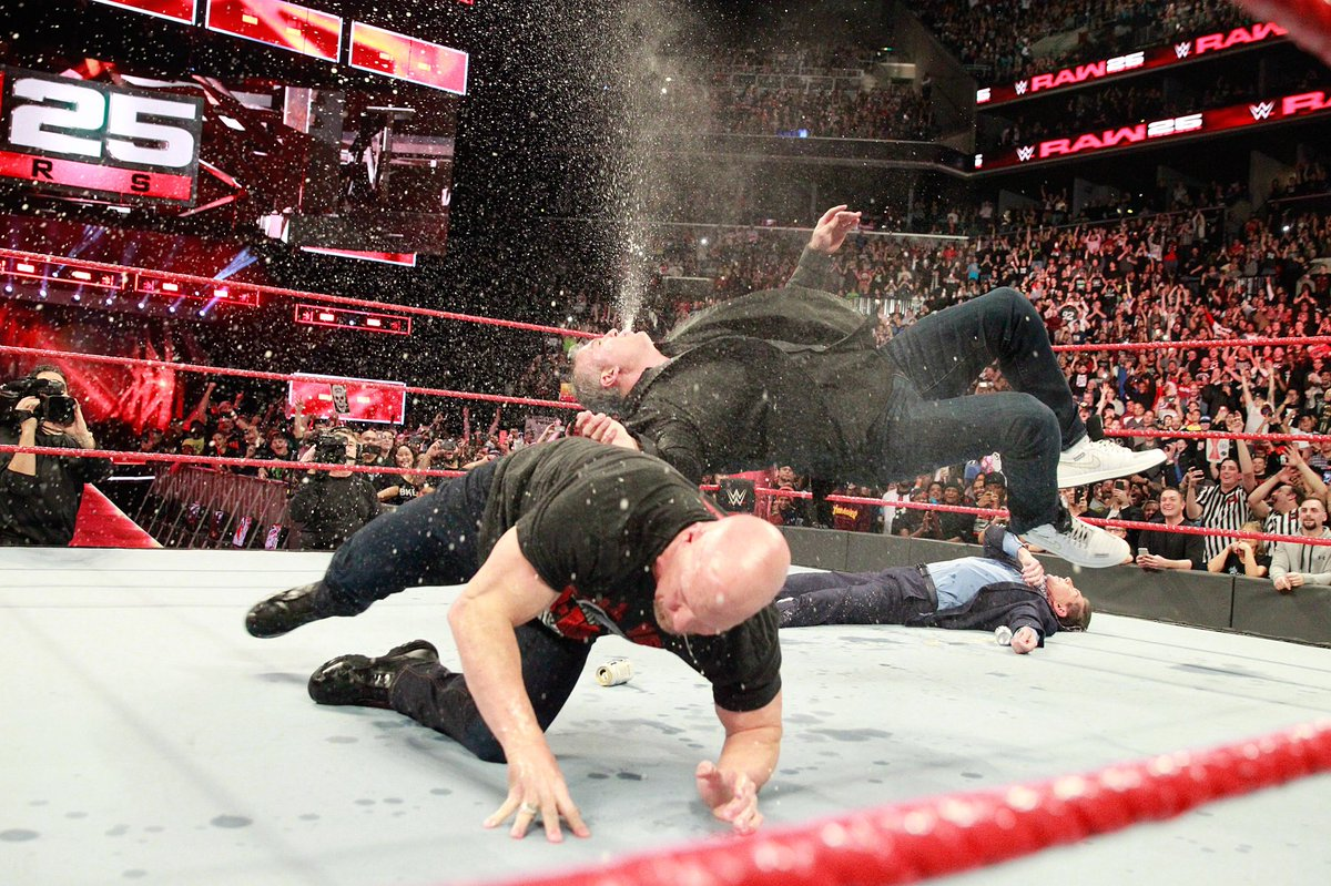 Privileged to share the ring with you @SteveAustinBSR and proud to be a part of #Raw25.