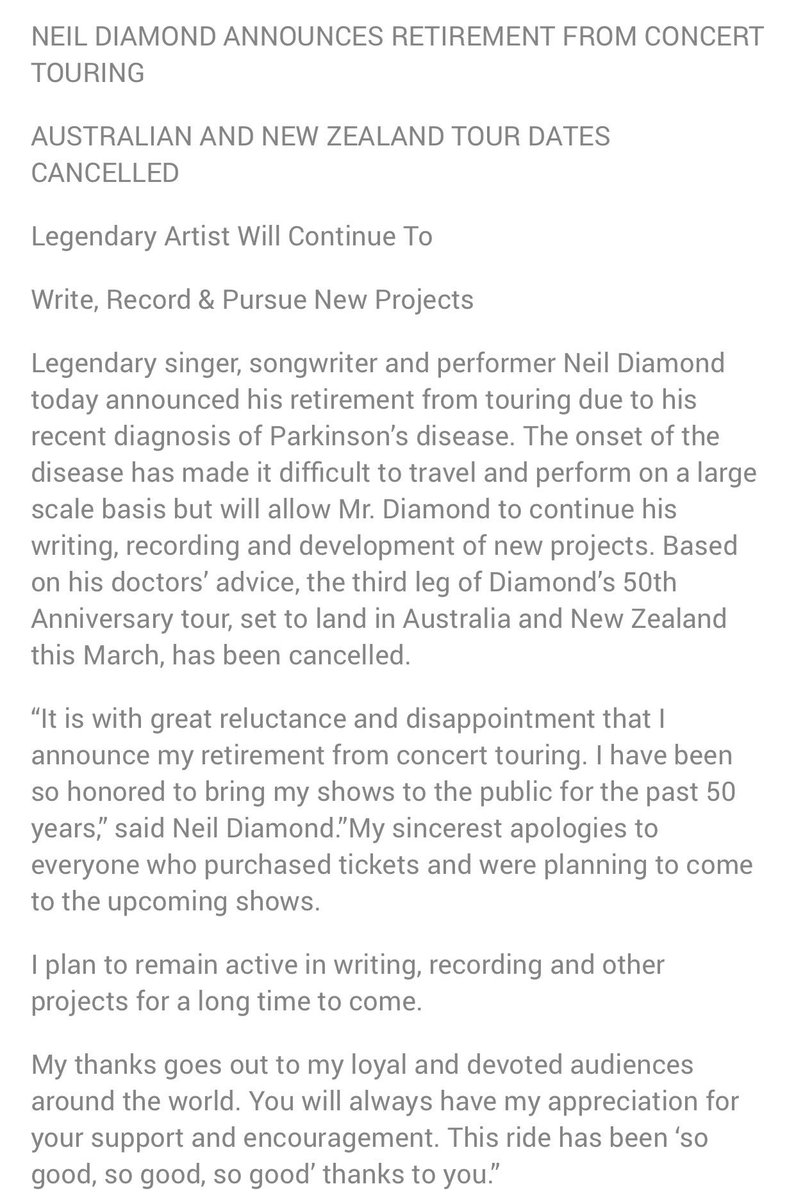 """Music legend Neil Diamond announces his retirement from touring due to recent Parkinson's diagnosis: """"This ride has been 'so good, so good, so good' thanks to you."""""""