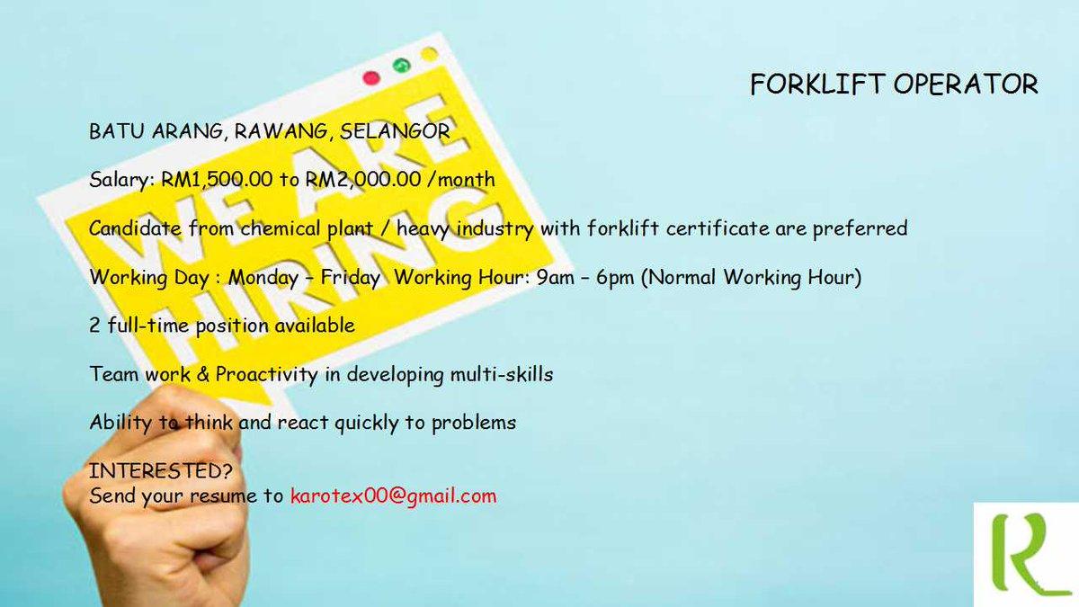 Karotex on twitter we are hiring jawatankosong job rawang karotex on twitter we are hiring jawatankosong job rawang forklift operator forkliftoperator 1betcityfo Images