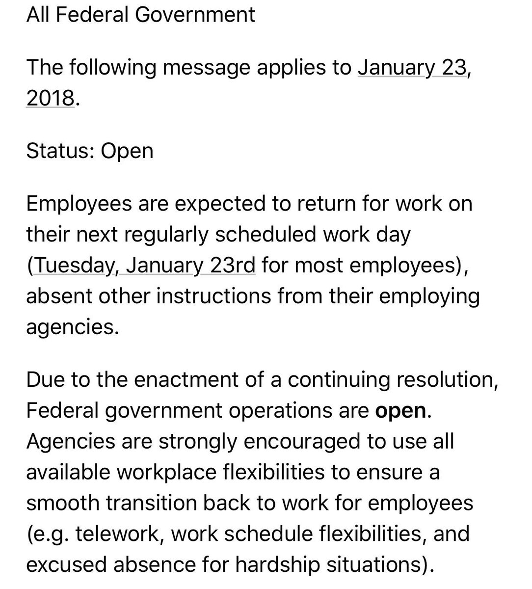 """OPM: """"Due to the enactment of a continuing resolution, Federal government operations are open."""""""