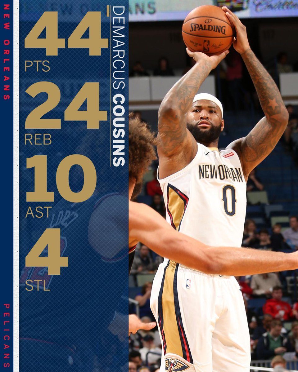 DeMarcus Cousins just put up the 10th 40-point, 20-rebound, 10-assist game in NBA history.