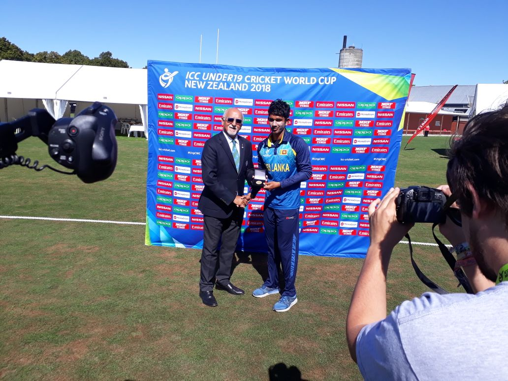 Hasitha Boyagoda gets the Player of the match award for his 191runs off 152 balls, the highest score in U19 ODIs. #U19CWC