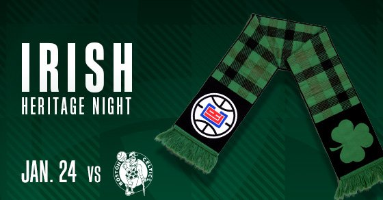 Irish Heritage Night is this Wednesday! 🇮🇪  Celebrate with us and receive a commemorative Irish Heritage Scarf when you purchase using the link below ⤵️  🗓 Wed. Jan 24 🆚 Celtics 🎟 https://t.co/5SMIUm9iav Promo Code: IRISH