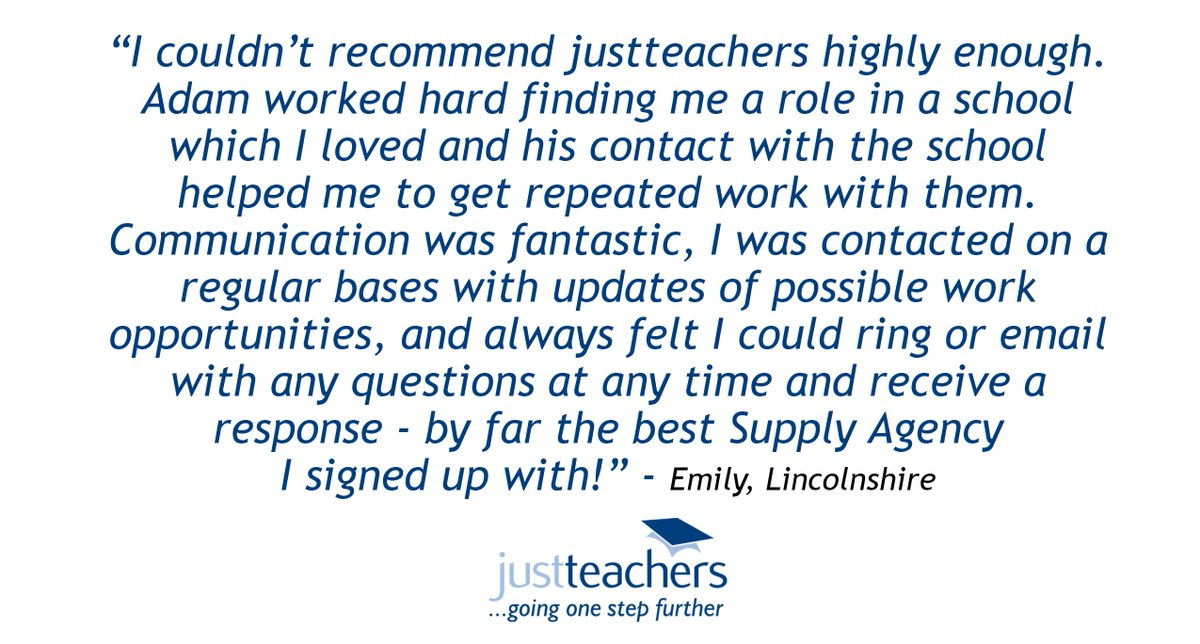 """test Twitter Media - Another fantastic review from a happy #Teacher! """"I couldn't recommend justteachers highly enough. Adam worked hard finding me a role in a school which I loved and his contact with the school helped me to get repeated work with them."""" - Emily, Lincolnshire. https://t.co/iZjPxuHnSB https://t.co/3AnwduA8pI"""