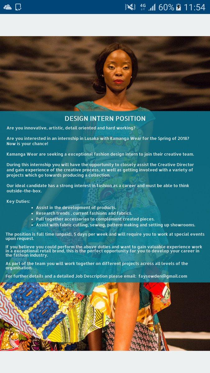 Kamanga On Twitter Design Intern Wanted Kamanga Wear Kamangalife Fashion Design Lusaka Zambia