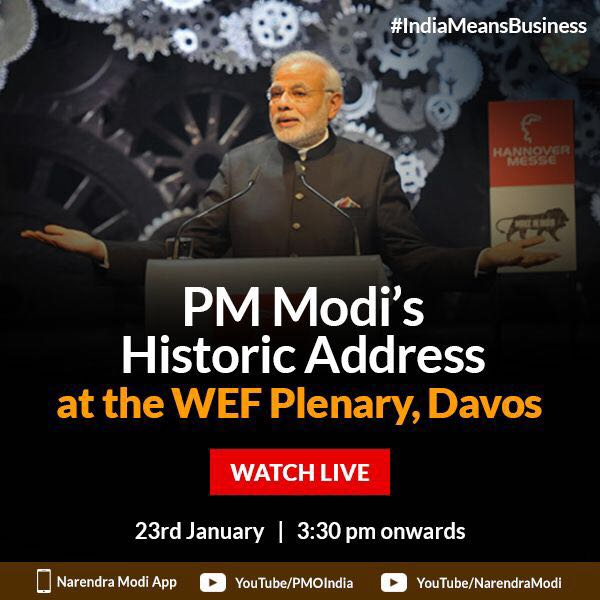 PM @narendramodi will deliver the opening keynote address at the @wef annual meeting in Davos, today. He will be narrating India's growth story & presenting new opportunities for global business in India. Watch live at   https://t.co/FQAS6Ox6Kb#IndiaMeansBusiness