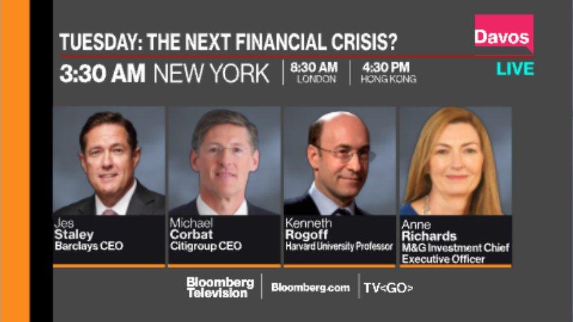 #WEF18: Watch @tomkeene panel on the next financial crisis with @krogoff, @AnneRichards16 https://t.co/edpGKjnBhf via @bsurveillance