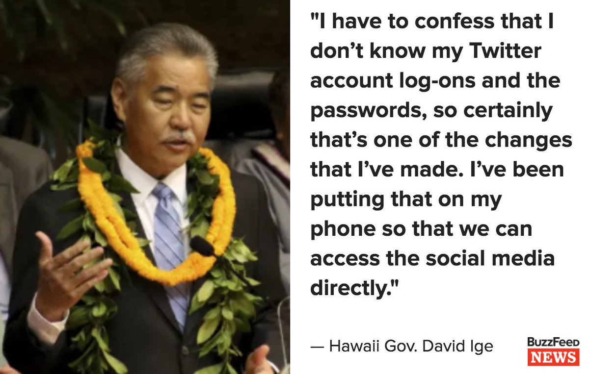 Hawaii's governor said he couldn't warn the public about this month's false missile alert because he didn't know his Twitter password https://t.co/9f1xaZaUhL