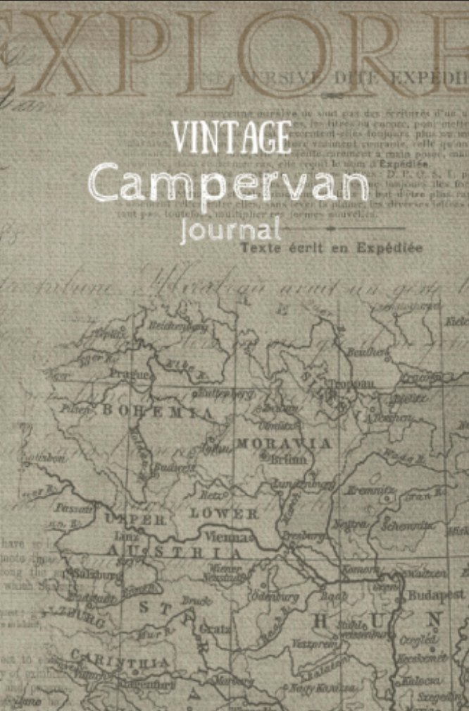 Red panda publishing redpandaph twitter vintage campervan journal old european map with cursive handwriting and printed text gumiabroncs Images
