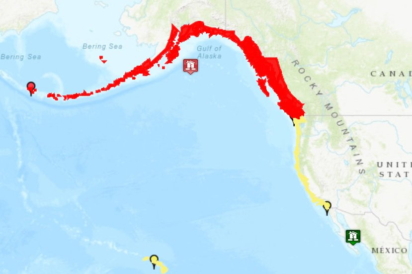 MAP: Tsunami warnings (red) and watches (yellow) after the powerful earthquake in the Gulf of Alaska. Move to higher ground immediately if you are along the coast in a warning arehttps://t.co/yDX9oanoROa