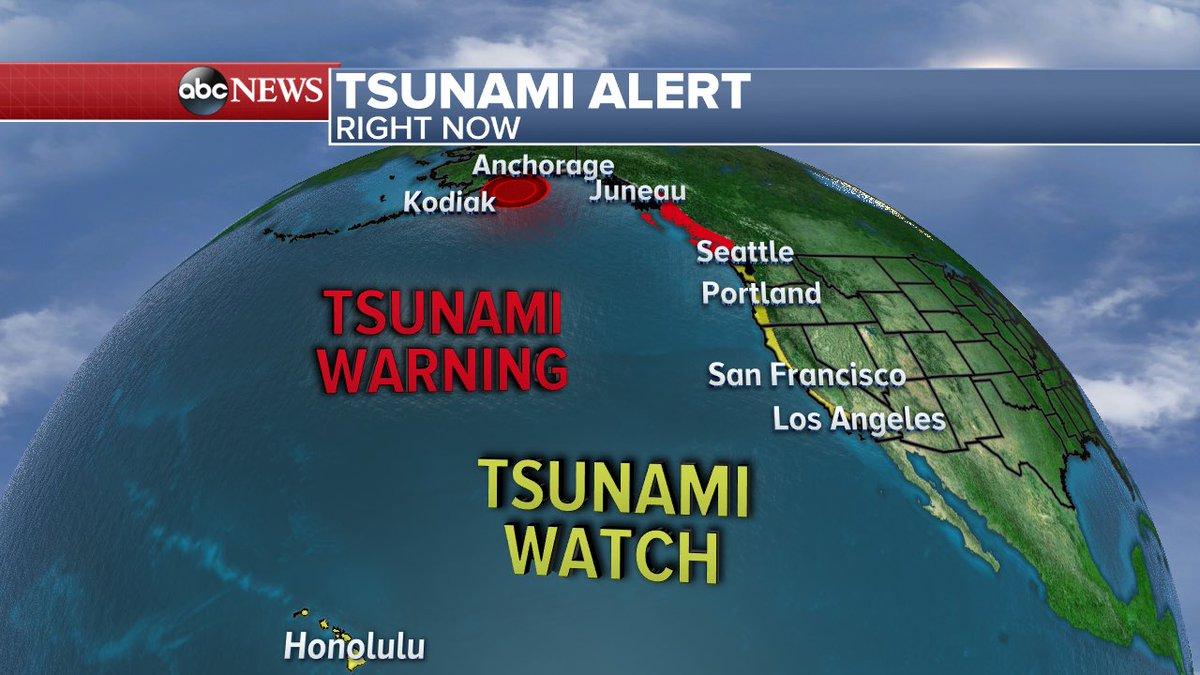 7.9 earthquake 280km SE Kodiak, Alaska   Tsunami warnings (along parts of coastal Alaska) and watches from Alaska down the coast of California to Hawaii.