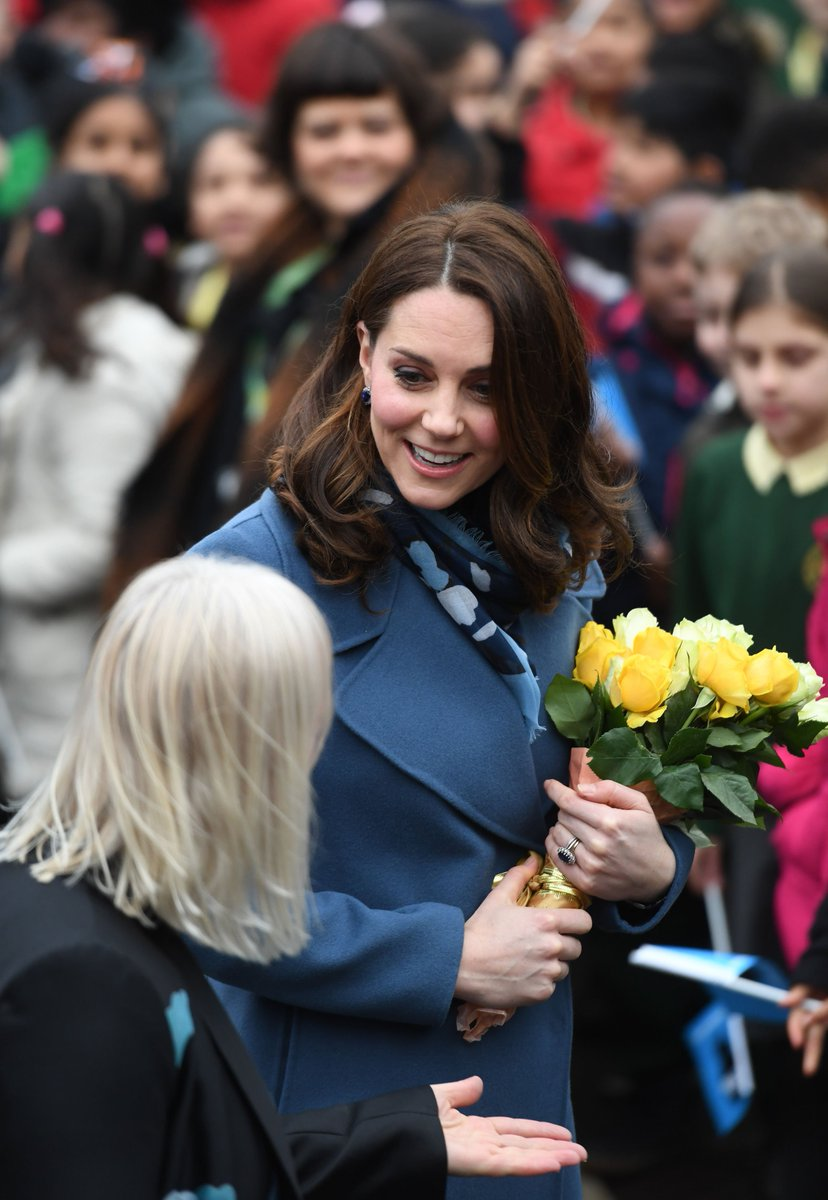 The Duchess of Cambridge arriving at Roe Green Junior School in Brent, London where she will launch  a mental health programme for schools