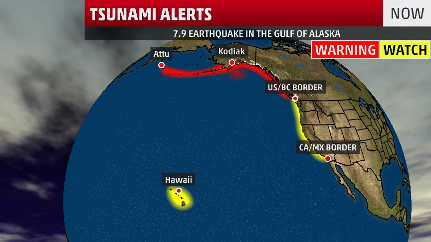 UPDATE: #Tsunami activity detected by buoys in the Gulf of Alaska. Evacuate inland or to higher ground immediately beyond designated tsunami hazard zones along the southern AK/BC coasts. Estimated times of arrival of first waves for AK, BC, US West Coasts: https://t.co/8mIrNmCYIy