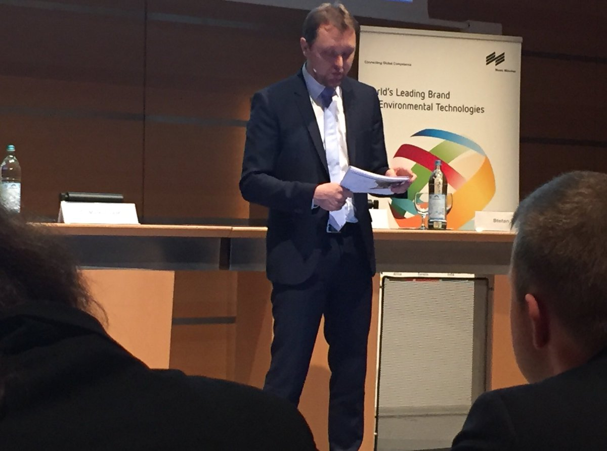 Stefan Rummel, Managing Director of @messemuenchen, announces biggest @IFATworldwide ever at IFAT Future Dialogue. #IFAT2018 #wilofairs #roadtoifat