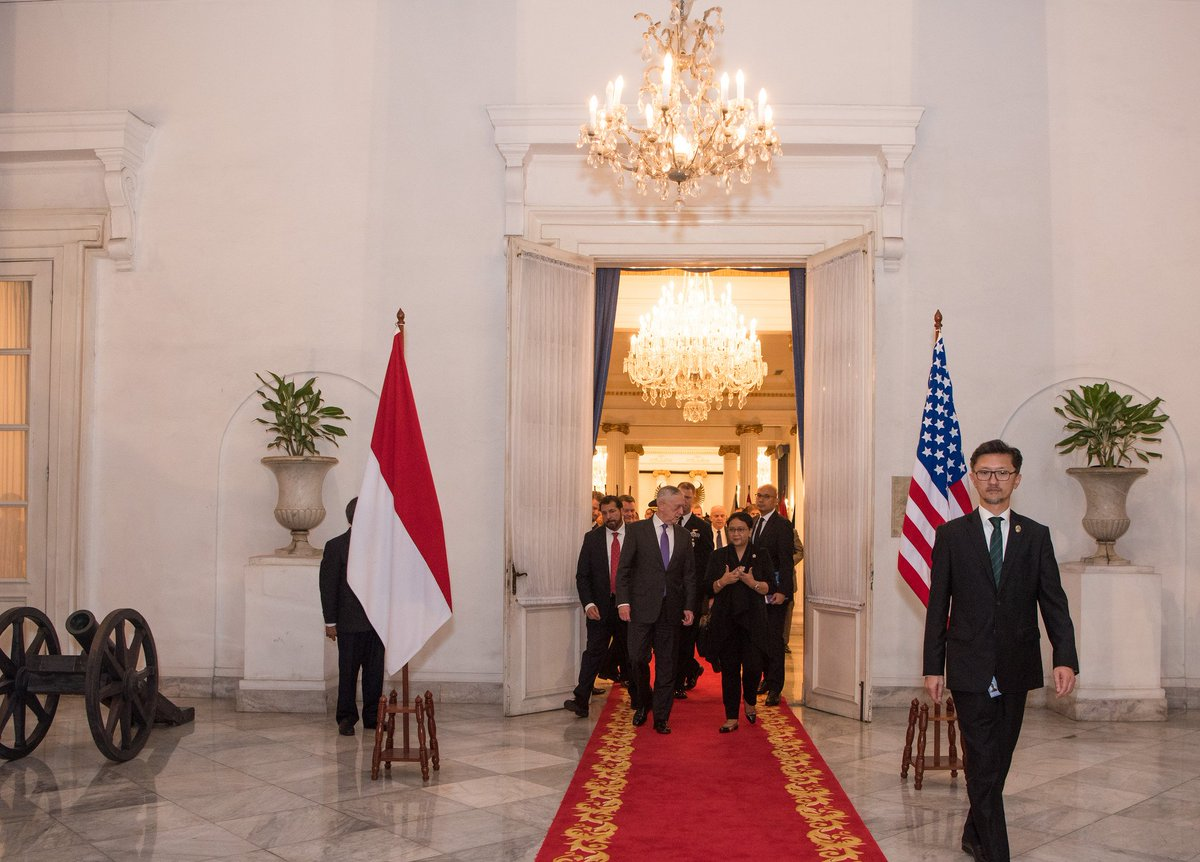 #ICYMI: Yesterday #SecDef Mattis met with the Foreign Minister of Indonesia Retno Marsudi during a visit to #Jakarta, #Indonesia.