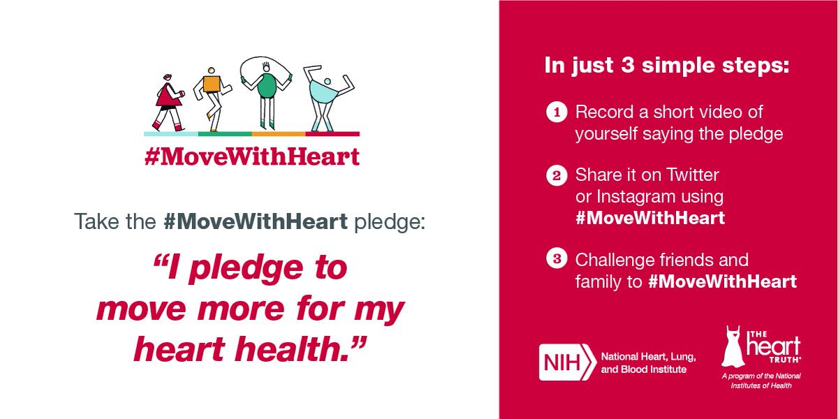 Join @nih_nhlbi U0026 Pledge To #MoveWithHeart During #AmericanHeartMonth This  February! Https: