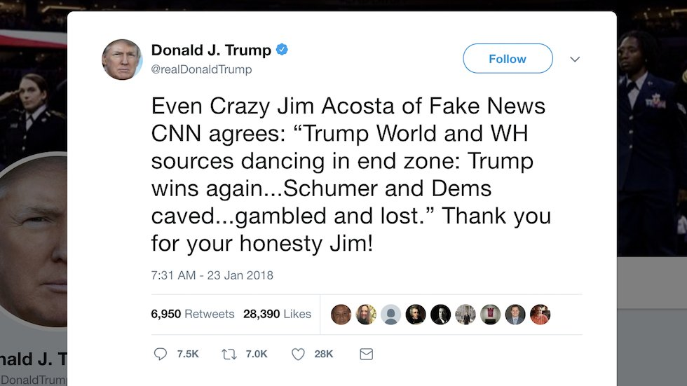 Trump misquotes Jim Acosta in tweet attacking CNN as 'fake news': https://t.co/yVoFb6NMpf