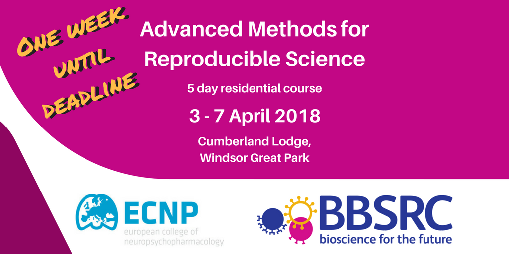 Calling all #ECRs! Only 1 week left to apply to 5 day residential workshop on methods for reproducible science - deadline 5pm 30 Jan  https:// mrc.io/2EXRYkT  &nbsp;   #researchquality @BBSRC @ECNPtweets<br>http://pic.twitter.com/2ncP98nRsv