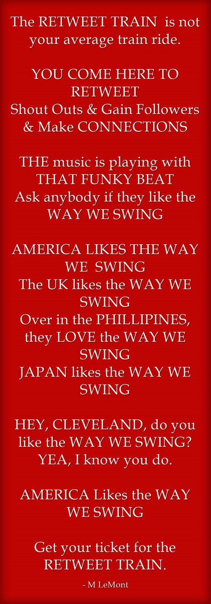Hey, Cleveland, do you like the way we Swing?  America likes the way we Swing.  Follow the Retweet Train @MisterSalesman #MRetweetTrain