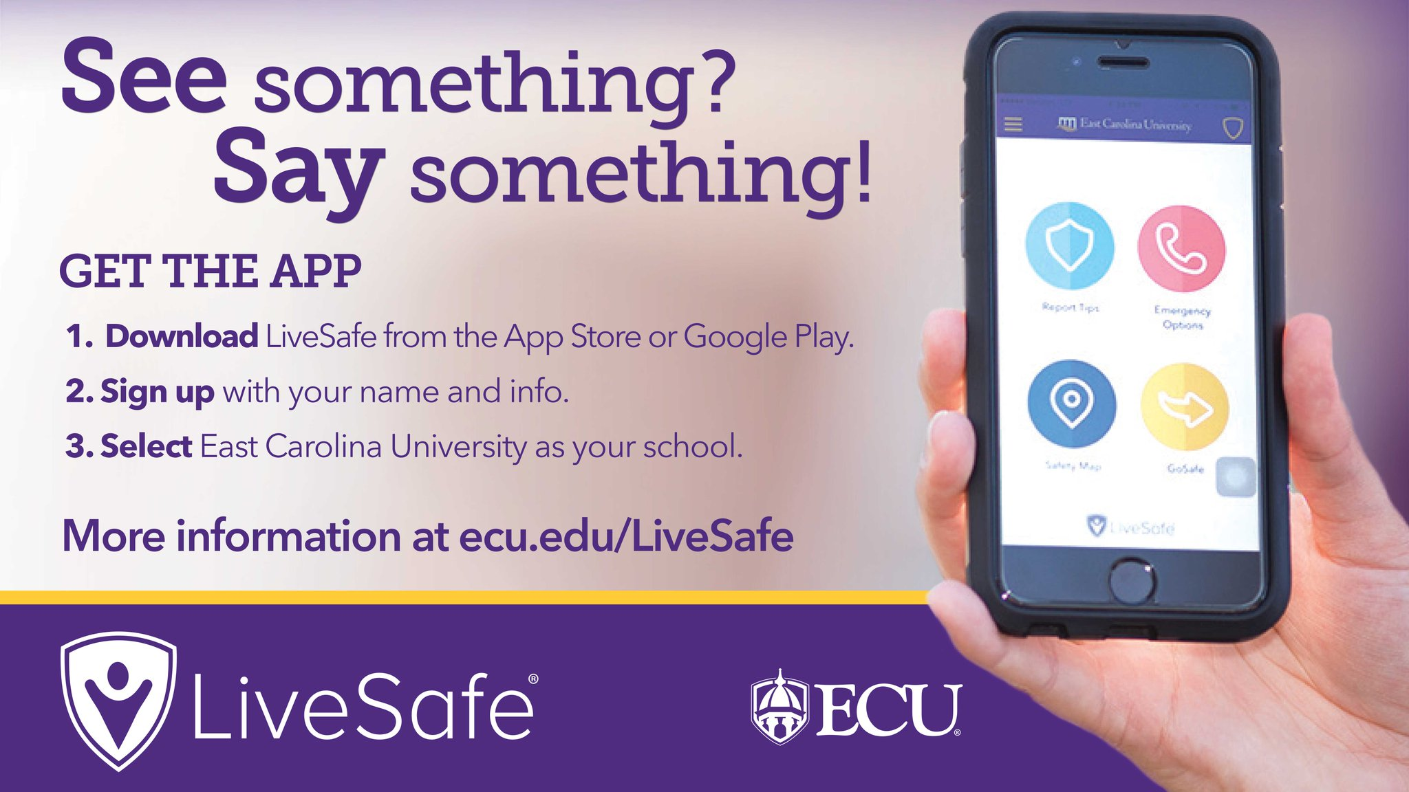 Ecu On Twitter Do You Have The At Livesafe App You Can Submit Tips