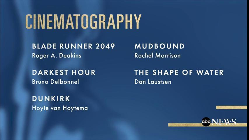 #Oscars Nominations - Cinematography Blade Runner 2049 Darkest Hour Dunkirk Mudbound The Shape of Water #OscarNoms