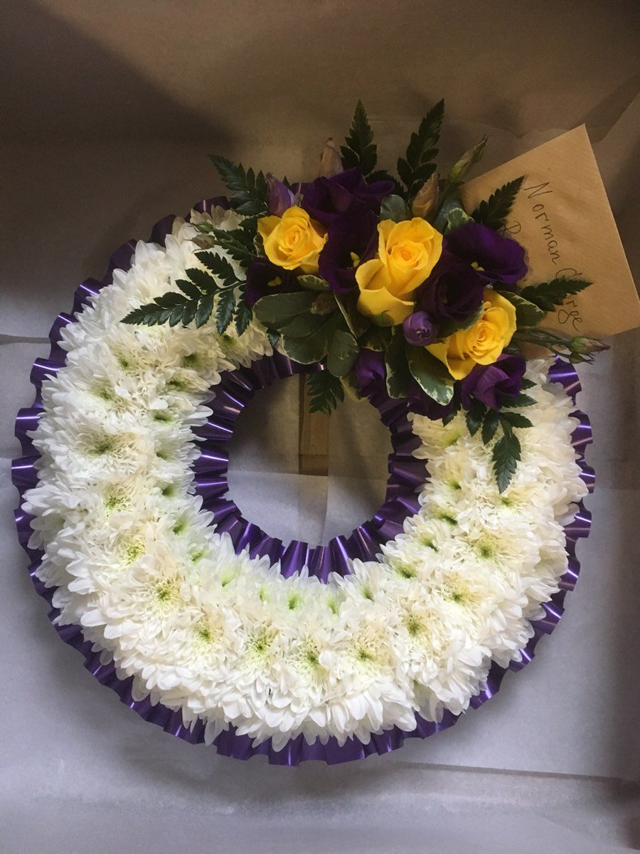 Funeral flowers funeralflowers0 twitter flower wreath to convey your sincere condolences featuring white chrysanthemums and yellow roses florist funeralflowers sympathy flowers izmirmasajfo