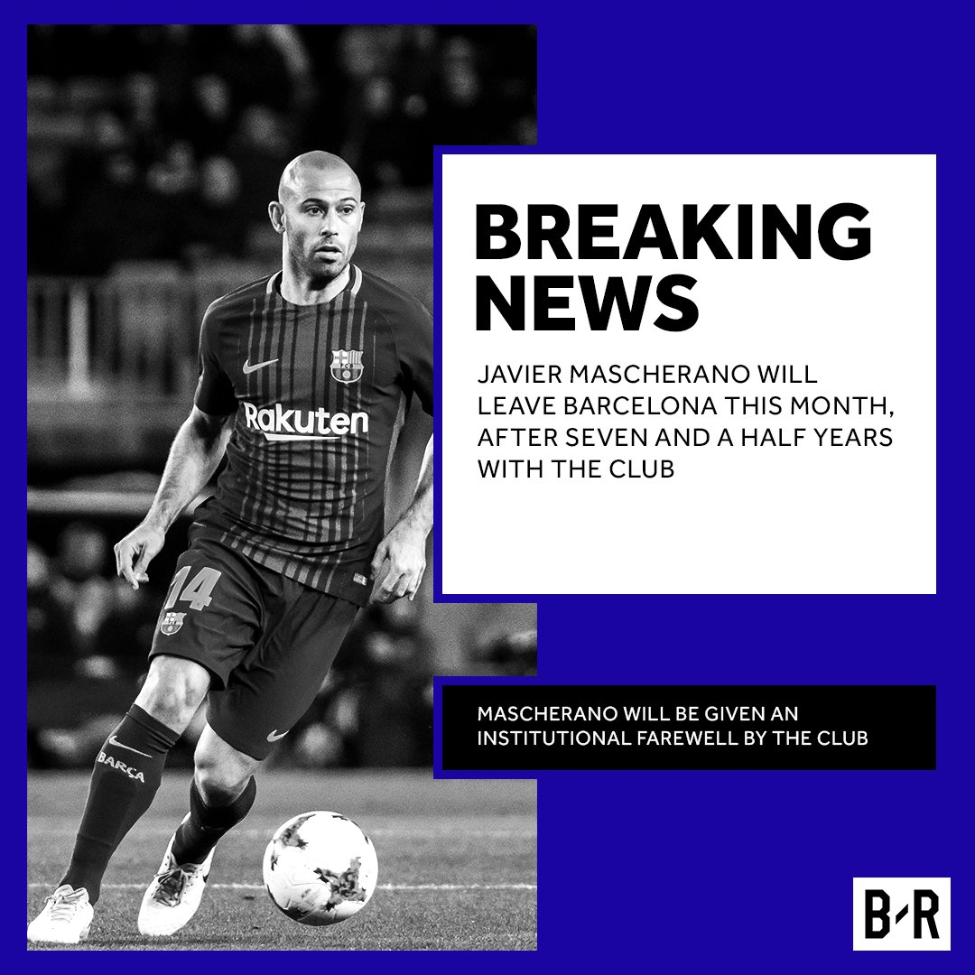 BREAKING: Barcelona confirm that Javier Mascherano will leave the club this month