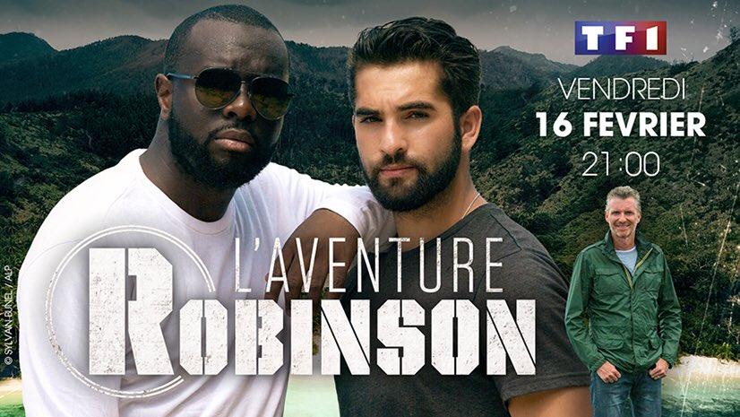 ✨ ÉVÉNEMENT ✨✨ Découvrez #AventureRobinson présentée par @DenisBrogniart avec @GIRACKENDJI et @MaitreGims le vendredi 16/02 à 21:00 sur @TF1