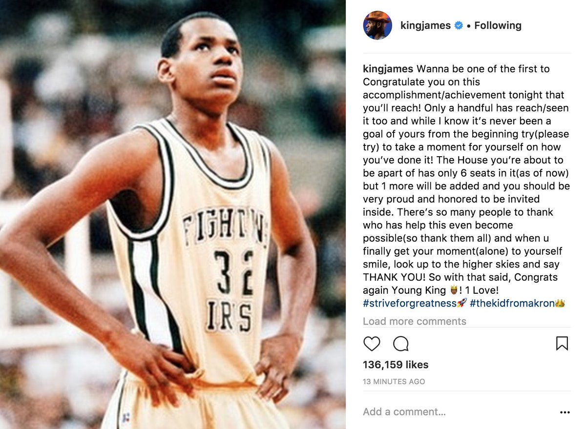 LeBron congratulates his high school self on Instagram for the 30k career points milestone that he expects to hit tonight.