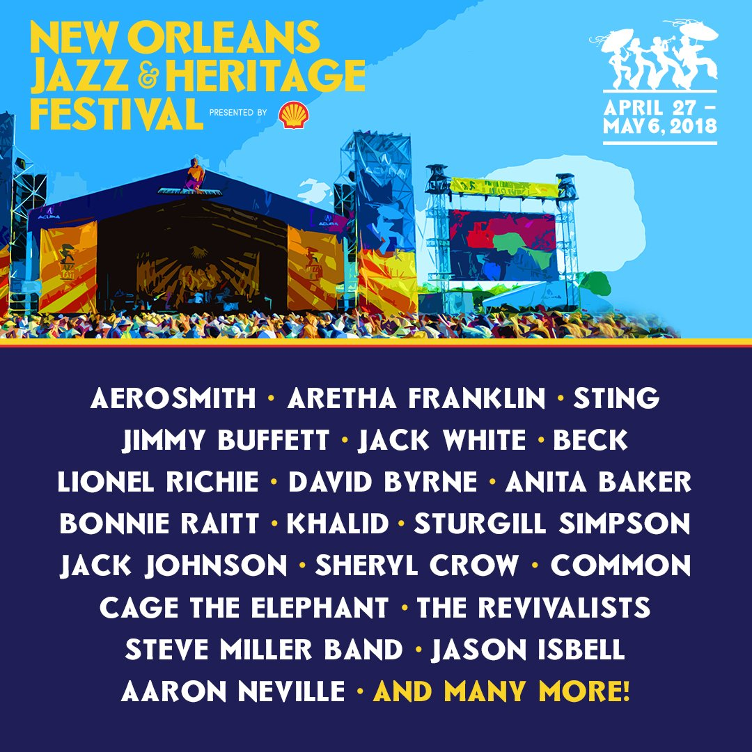 No Jazz Fest >> New Orleans Jazzfest On Twitter 2018 New Orleans Jazz Fest Lineup