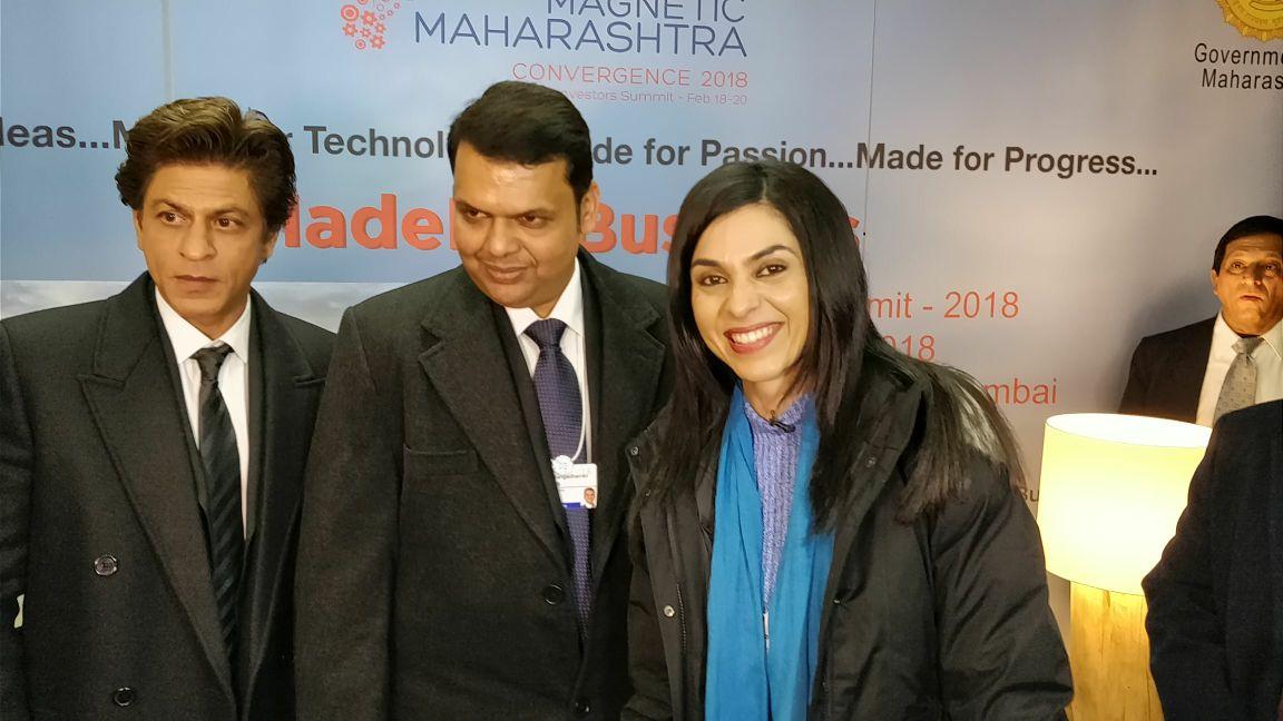 .@ShereenBhan with Maharashtra Chief Minister @Dev_Fadnavis & the baadshah of   at#Bollywood @iamsrk #Davos2018#WEF18