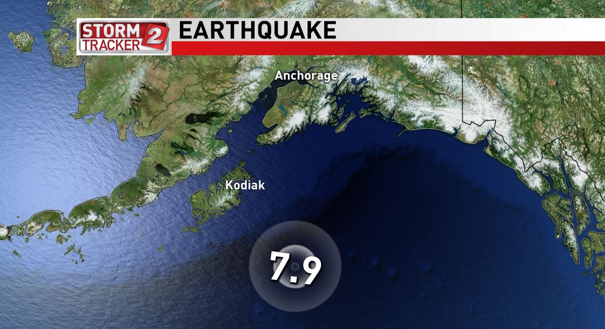 ICYMI: A strong earthquake hit at 12:30 a.m. and was recorded about 170 miles southeast of Kodiak Island in the Gulf of Alaska. #LiveonK2 https://t.co/V0AZdEtdD5