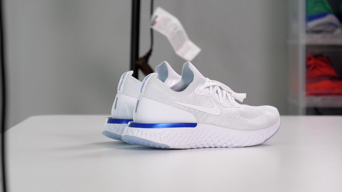 "071cf2658751e Nike Epic React Flyknit ""White Navy"" Launches on Feb 5 via NikePlus   150pic.twitter.com zoSeJAkW1Q"