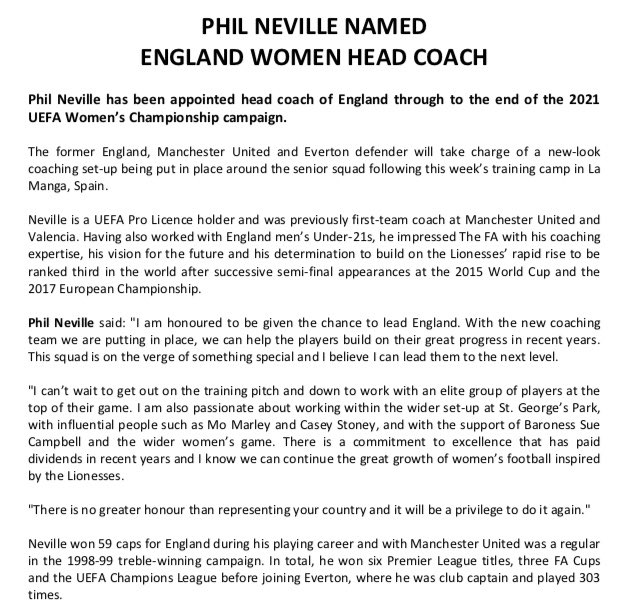 Breaking: FA say Phil Neville has been appointed head coach of England Women through to the end of the 2021 UEFA Women's Championship campaign.
