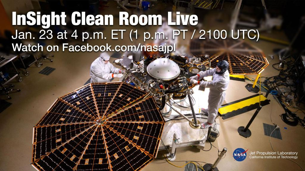 Join us from inside the clean room to get a final look at our next Mars lander before it launches to the Red Planet in May! Tune in and ask your questions about the @NASAInSight lander on @facebook Live at 4pm ET: https://t.co/iCBAuY2GZE