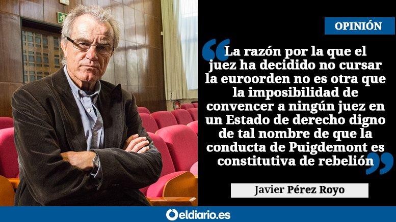 RT @eldiarioes: OPINIÓN | La imaginación de los jueces https://t.co/f0dIG5bTDb Por Javier Pérez Royo https://t.co/b7JgBUb6FR