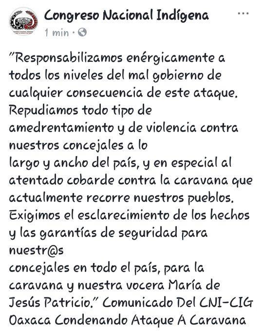 RT @CNI_Mexico: Comunicado Del CNI-CIG Oaxaca Condenando Ataque A Caravana https://t.co/5SqLKi10md https://t.co/1XRx4wuQ0S