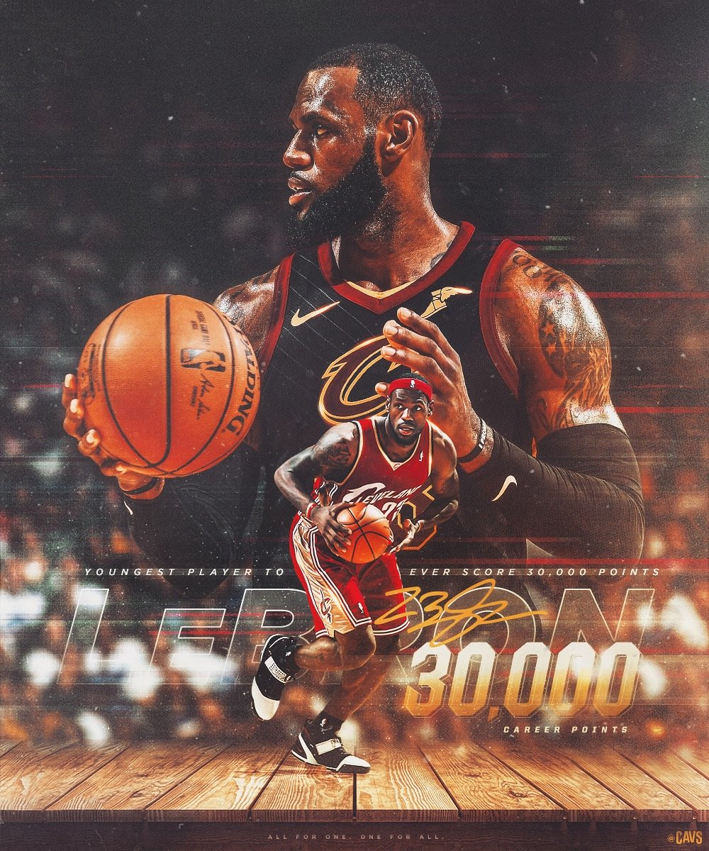 30,000 career points: earned not given. Congratulations to @KingJames, who just became the youngest player in NBA history to score 30K.  #StriveForGreatness