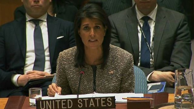 Nikki Haley says Russia is complicit in Syrian atrocities. https://t.co/dC5NIrn3ME