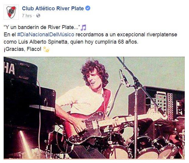 En el #DiaDelMúsico, River recordó al histórico Luis Alberto Spinetta. https://t.co/jxcbxag396