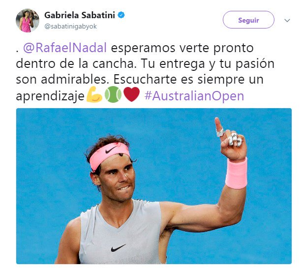 Gabriela Sabatini y el mensaje de apoyo para Nadal tras abandonar #AUSTRALIAxESPN. https://t.co/AbXNtgenrO