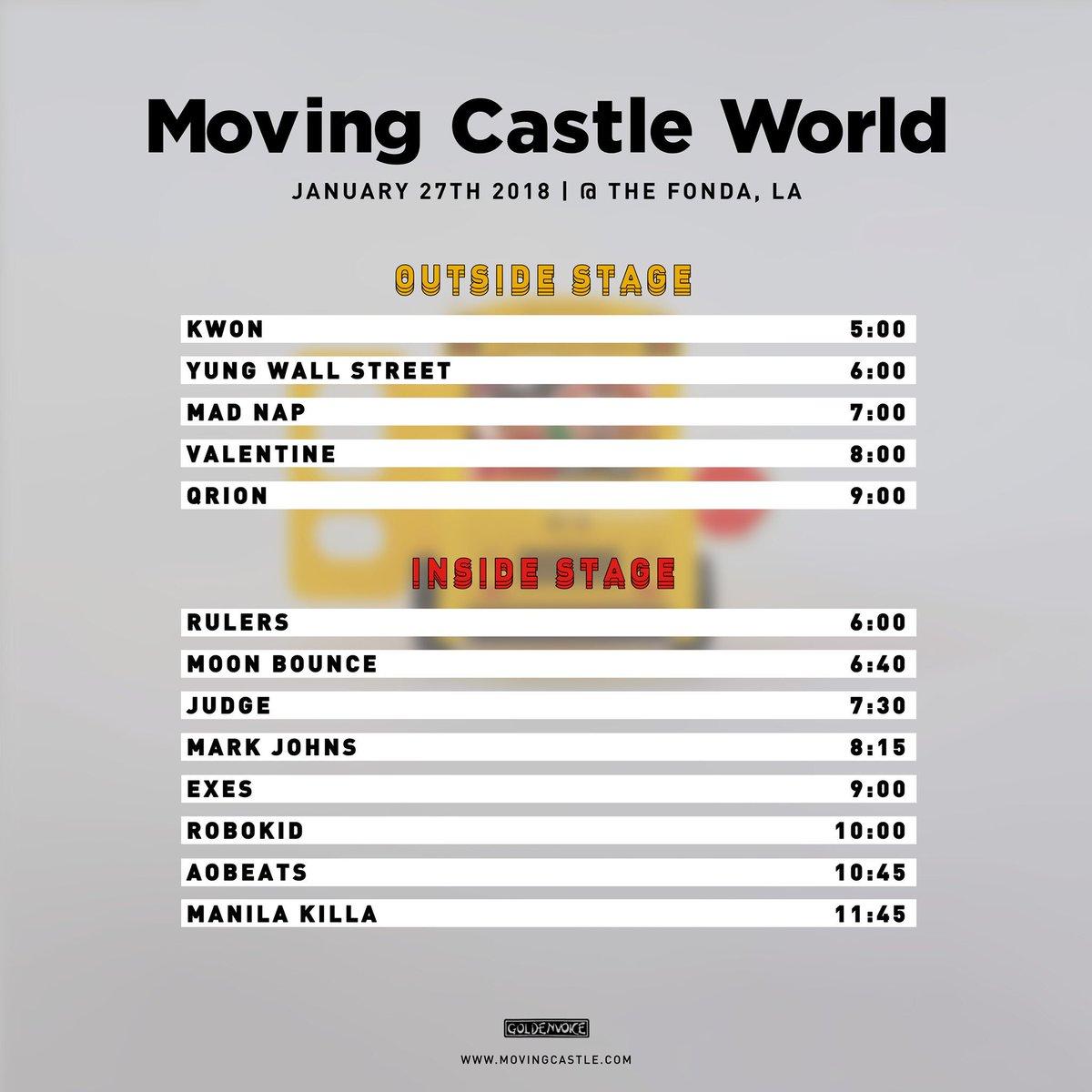 MOVING CASTLE WORLD SET TIMES 🌎  🎟: https://tinyurl.com/mcworldtix